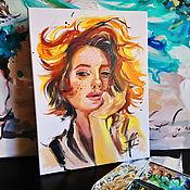 Картины и панно handmade. Livemaster - original item Sun in hair - portrait on canvas. Handmade.