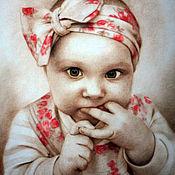 Картины и панно handmade. Livemaster - original item Portrait of a baby in the dry brush technique.. Handmade.