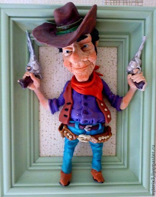 Коллекционные куклы ручной работы. Ярмарка Мастеров - ручная работа. Купить Кукла из полимерной глины Ковбой. Handmade. Мятный, для детей
