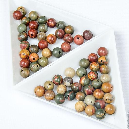 """Для украшений ручной работы. Ярмарка Мастеров - ручная работа. Купить Каменные бусины """"яшма пикасо"""" 6мм. Handmade. Бусины"""