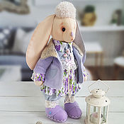 Stuffed Toys handmade. Livemaster - original item textile toy. Bunny in a purple coat - 43 cm.. Handmade.