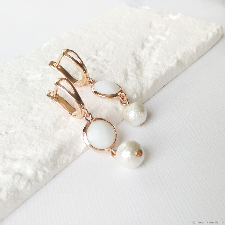 White pearl earrings for every day Wedding earrings, Earrings, Tomsk,  Фото №1