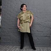 Одежда handmade. Livemaster - original item Mike-khaki tunic with long back. Art. 1598. Handmade.