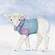 Картина акварелью Овечка. Прогулка по снегу , картина для детской,  Маркина Светлана ( LechuzaS )