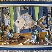 """Картины и панно ручной работы. Ярмарка Мастеров - ручная работа Панно из кожи """"Рыбка моя!"""", картина из кожи. Handmade."""