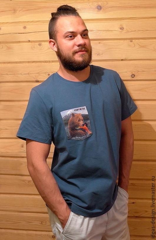 Футболки, майки ручной работы. Ярмарка Мастеров - ручная работа. Купить Футболка с контрастным нагрудным карманом Kamchatka Collection. Handmade.