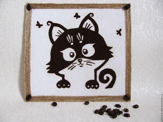 """Животные ручной работы. Ярмарка Мастеров - ручная работа. Купить Картина-панно из молотого кофе """"Котенок Мяу"""". Handmade. Комбинированный"""