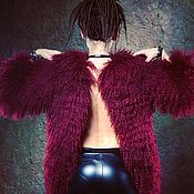 Одежда ручной работы. Ярмарка Мастеров - ручная работа Шуба из ламы, марсала, 42 размер. Handmade.