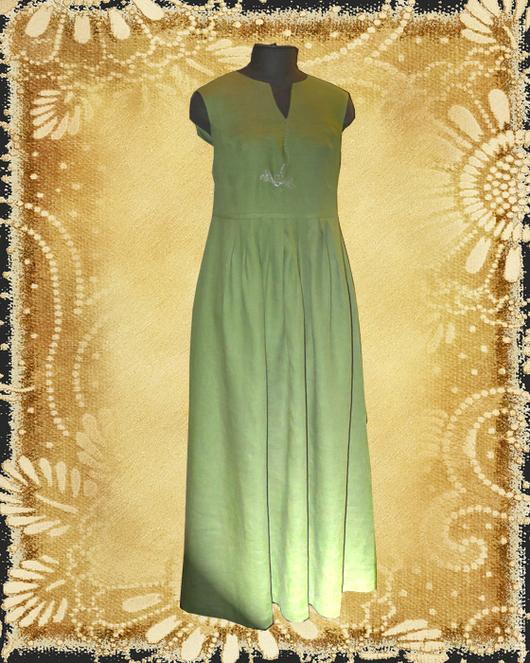"""Платья ручной работы. Ярмарка Мастеров - ручная работа. Купить Платье льняное летнее """"Стрекоза"""". Handmade. Зеленый, для женщины, сарафан"""