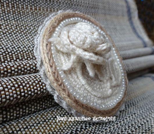 Броши ручной работы. Ярмарка Мастеров - ручная работа. Купить Брошь-камея Роза 2 вязаная вышитая с бисером. Handmade.