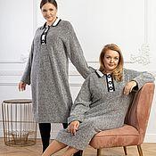 Одежда handmade. Livemaster - original item Viscose herringbone Polo dress R-R Plus Size. Handmade.