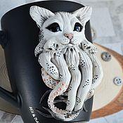 Посуда handmade. Livemaster - original item Cthulhu cat mug with polymer clay decor handmade. Handmade.