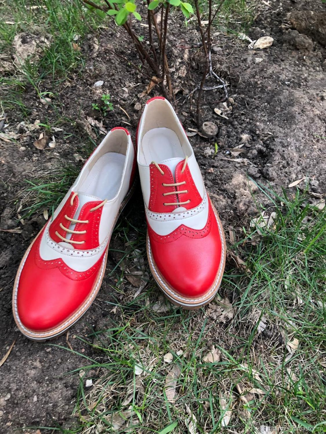 Oxford shoes red / ivory beige sole, Oxfords, Moscow,  Фото №1