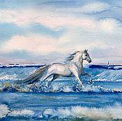 Картины и панно ручной работы. Ярмарка Мастеров - ручная работа ЛОШАДЬ Белая акварель. Handmade.