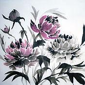 """Картины и панно ручной работы. Ярмарка Мастеров - ручная работа Картина в технике суми-э """"Пионы"""". Handmade."""