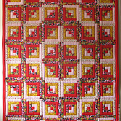 """Для дома и интерьера ручной работы. Ярмарка Мастеров - ручная работа Лоскутное одеяло покрывало """"Красное"""". Handmade."""