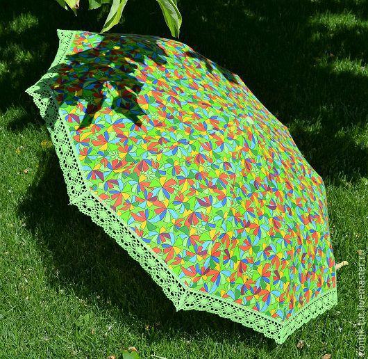"""Зонты ручной работы. Ярмарка Мастеров - ручная работа. Купить зонт от солнца (складной) """"Семицвет"""". Handmade. Зеленый, от солнца, дача"""