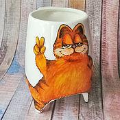 """Посуда ручной работы. Ярмарка Мастеров - ручная работа """"Гарфилд"""" - чашка с ножками. Handmade."""