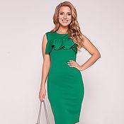 Одежда ручной работы. Ярмарка Мастеров - ручная работа Платье с воланом по лифу зеленое 37238. Handmade.