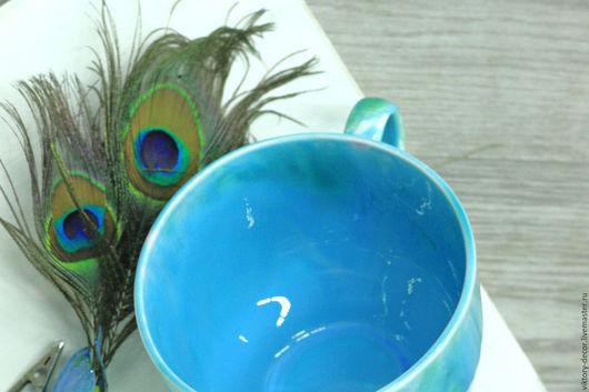 Кружки и чашки ручной работы. Ярмарка Мастеров - ручная работа. Купить Чашка керамическая размер XL. Handmade. Бирюзовый, бокал