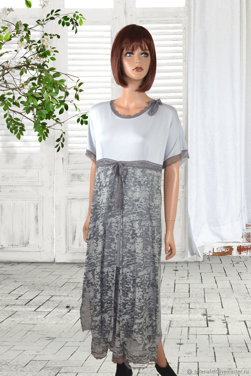 Gray knitted elegant dress for summer ' Etre libre', Dresses, Mulhouse,  Фото №1