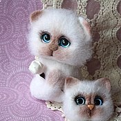 handmade. Livemaster - original item Kitty Marshmallow felted toy. Handmade.
