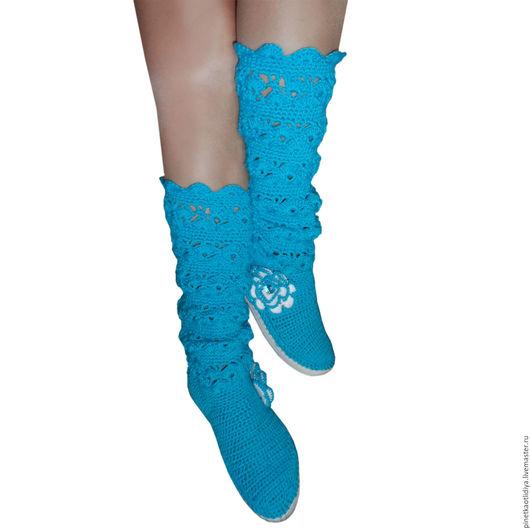 """Обувь ручной работы. Ярмарка Мастеров - ручная работа. Купить вязаные женские сапожки """"Бирюза"""". Handmade. Бирюзовый, сапожки вязаные"""