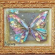 Картины и панно ручной работы. Ярмарка Мастеров - ручная работа Картина трехслойная на шелке Драгоценные бабочки-3. Handmade.
