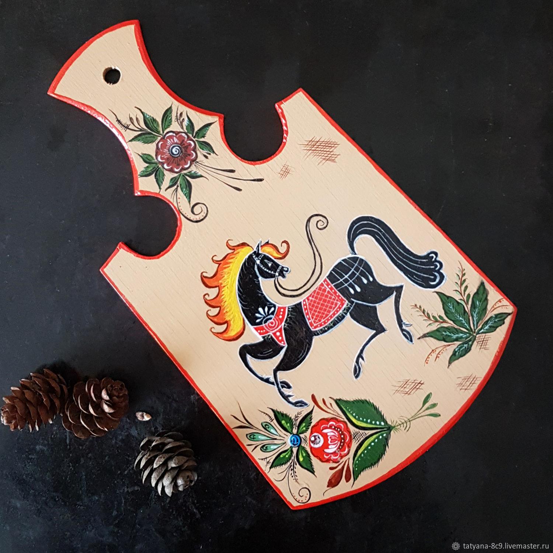 """Разделочная досочка """"Городецкий конь"""", Посуда, Тосно,  Фото №1"""