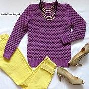 Одежда ручной работы. Ярмарка Мастеров - ручная работа Лиловый свитер с крупными сотами. Handmade.
