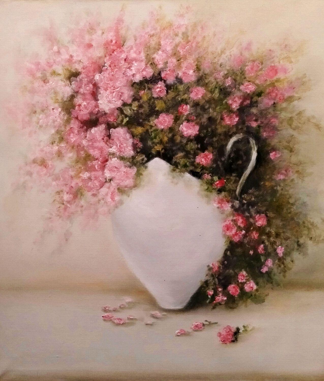 """Картина: """"Розовый букет в чашке"""", Картины, Кимры,  Фото №1"""