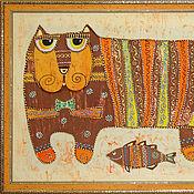 Картины ручной работы. Ярмарка Мастеров - ручная работа Весёлое этно ( котики). Handmade.