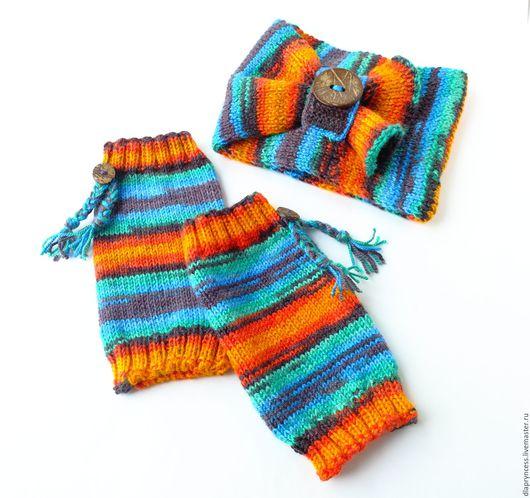 яркие гетры и шарф труба для девочки, радужный шарф