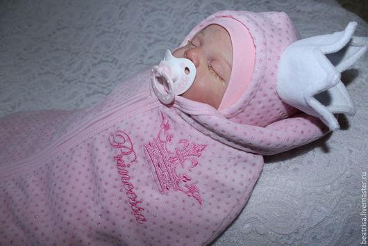 """Для новорожденных, ручной работы. Ярмарка Мастеров - ручная работа. Купить Комплект на выписку """"Принцесса"""". Handmade. Розовый, велюр"""