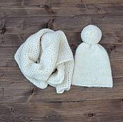 Работы для детей, handmade. Livemaster - original item Beanie with pompom wrapping for the photo shoot of newborns. Handmade.