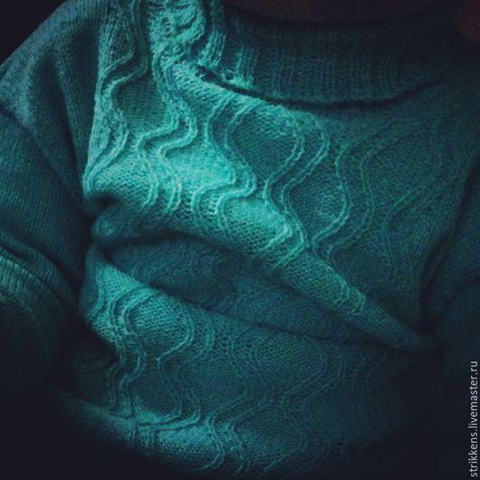 Одежда для мальчиков, ручной работы. Ярмарка Мастеров - ручная работа. Купить свитер Волны. Handmade. Бирюзовый, модный свитер