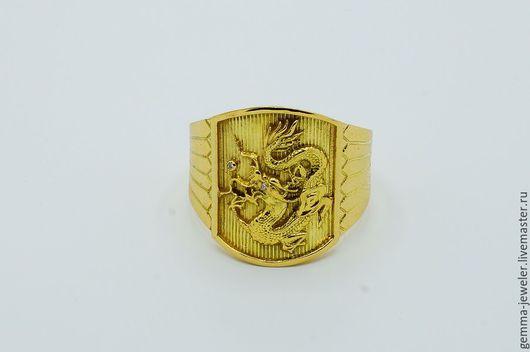 Украшения для мужчин, ручной работы. Ярмарка Мастеров - ручная работа. Купить Мужская золотая печатка - Дракон. Handmade. Желтый