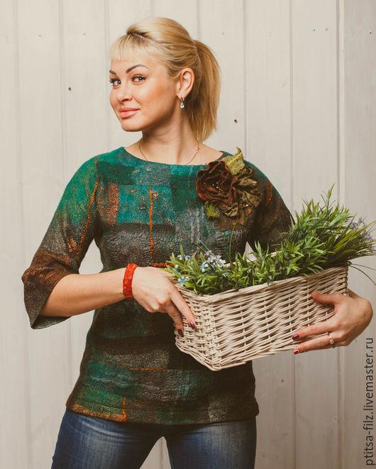 """Кофты и свитера ручной работы. Ярмарка Мастеров - ручная работа. Купить Джемпер """"Пряные травы"""". Handmade. Зеленый, купить джемпер"""