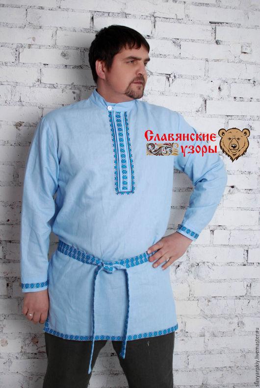 """Этническая одежда ручной работы. Ярмарка Мастеров - ручная работа. Купить Рубаха """"Алатырь"""" синий. Handmade. Голубой, рубаха льняная"""