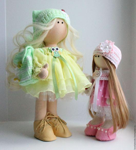 """Куклы тыквоголовки ручной работы. Ярмарка Мастеров - ручная работа. Купить Интерьерные куколки """"Две сестрички"""". Handmade. Комбинированный"""