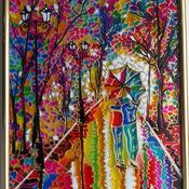 Картины и панно ручной работы. Ярмарка Мастеров - ручная работа Двое под зонтом по картине Л.Афремова. Handmade.