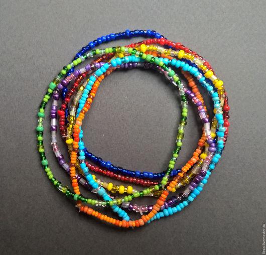 Радужный браслет, летнее настроение из бисера. Украшения ручной работы. Handmade.