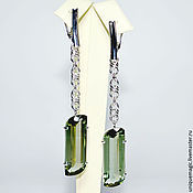 Украшения handmade. Livemaster - original item earrings with green amethysts. 925 sterling silver st.. Handmade.