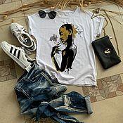 Одежда handmade. Livemaster - original item African Woman Pattern T-shirt in Gold - TEE10266CT. Handmade.