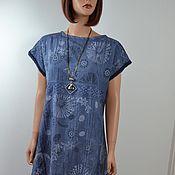 """Одежда ручной работы. Ярмарка Мастеров - ручная работа Бохо платье синее хлопок  """"Rousseau `. Handmade."""