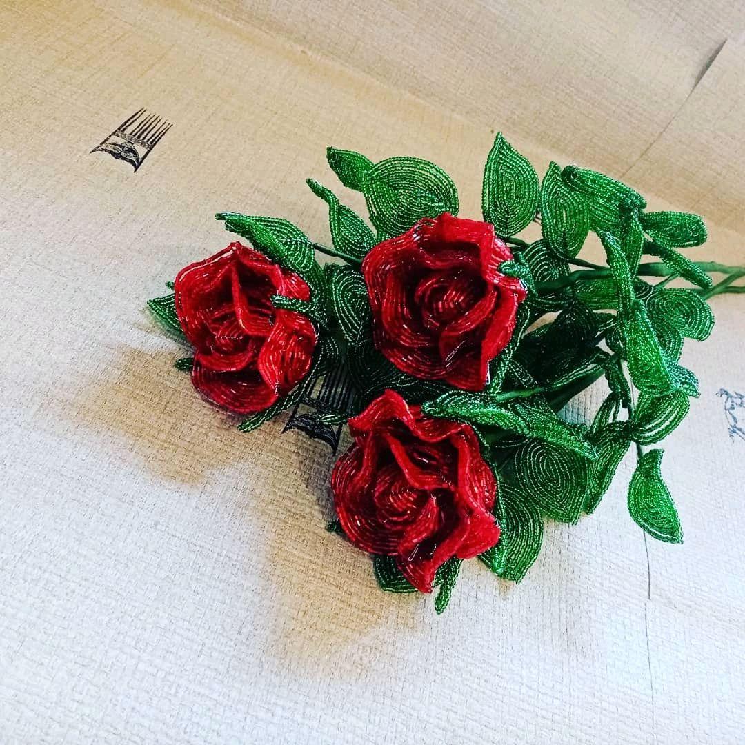 Красные розы. Розы из бисера, Цветы, Ростов-на-Дону,  Фото №1