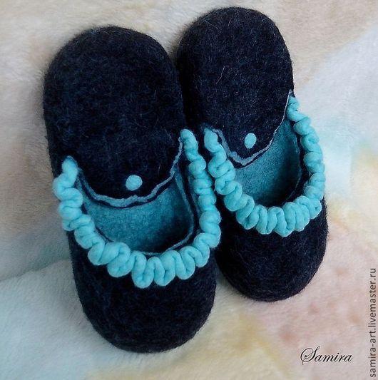 """Обувь ручной работы. Ярмарка Мастеров - ручная работа. Купить Тапочки валяные """"Blues"""". Handmade. Темно-серый, шерсть меринос"""