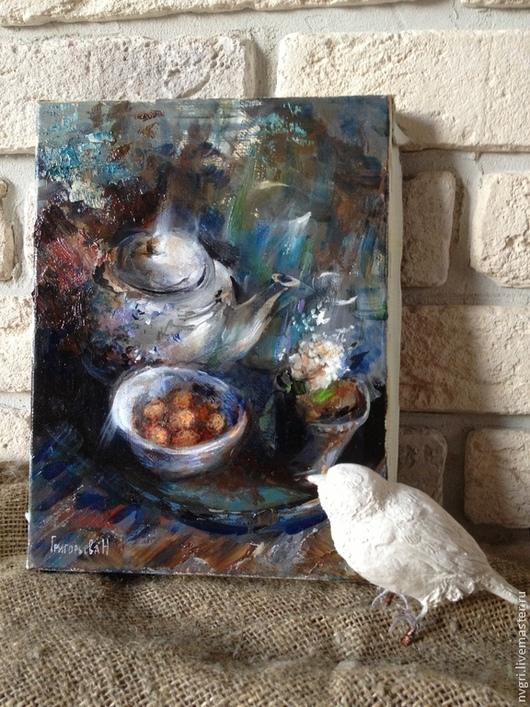 """Натюрморт ручной работы. Ярмарка Мастеров - ручная работа. Купить Картина """"Синий натюрморт"""".. Handmade. Разноцветный, натюрморт, цветок в горшке"""