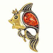 Украшения handmade. Livemaster - original item Gold fish jewelry brooch with amber a gift for his birthday. Handmade.