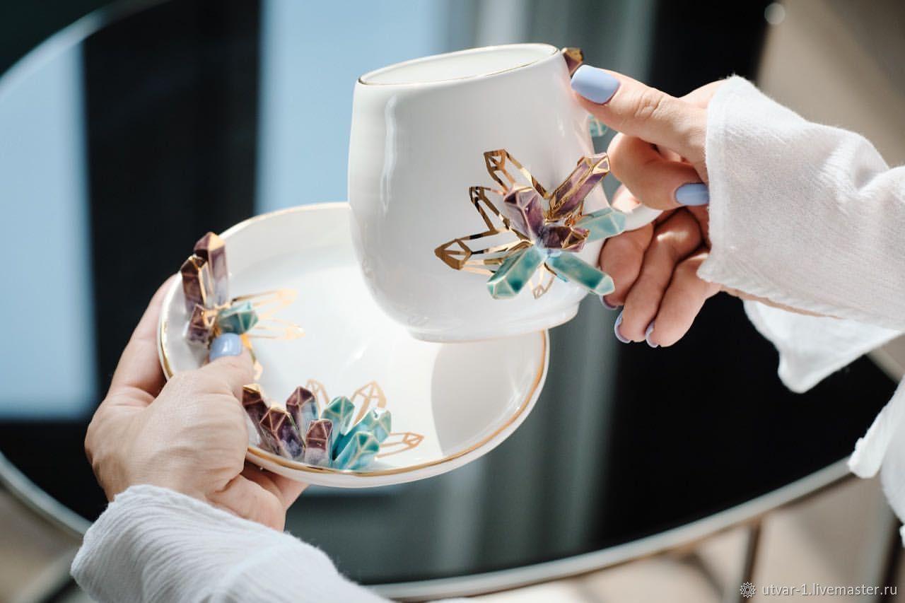 Кружки и чашки ручной работы. Ярмарка Мастеров - ручная работа. Купить Чайная пара кристаллы. Handmade. Кружка, посуда из глины